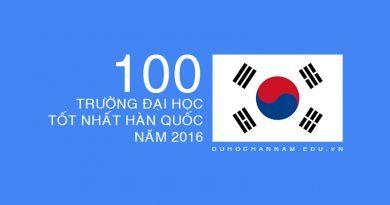 100 trường đại học tốt nhất Hàn Quốc năm 2016