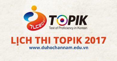 Lịch Thi TOPIK 2017