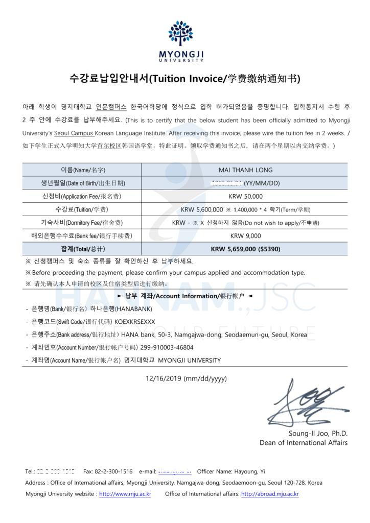 Invoice Đại học Myongji
